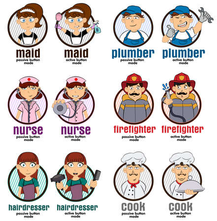Professions web buttons illustrations with 2 modes: maid, plumber, nurse, firefighter, hairdresser, cook. Vector illustration professions set.  Internet design and webdesign buttons.
