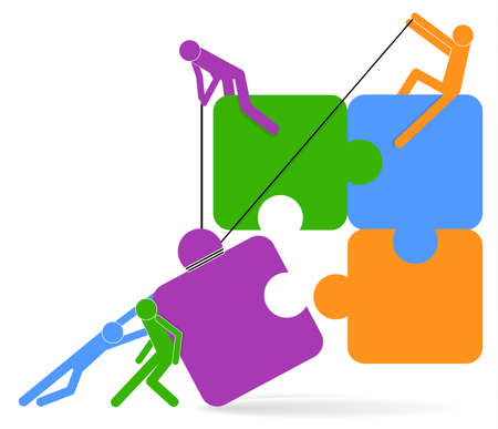 Teamwork concept. Puzzle and people icon. Business people holding puzzle. Vector illustration. Business strategy brainstorming concept. Ilustração Vetorial