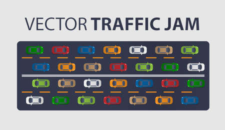 Traffic jam on the road. Road transport. Highway banner. Vector isolated background. Top or Above View