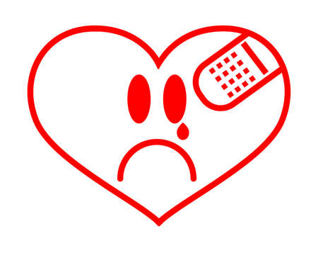 First Aid Band Cushioned Plaster Strip Medical Patch glued on red vector heart. Heart broken, Love and Valentines day concept.