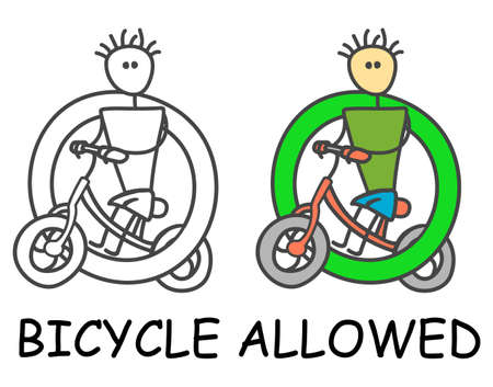 Funny vector bicyclist stick man with a bicycle in children's style. Allowed bicycle sign green. Not forbidden symbol. Sticker or icon for area places. Isolated on white background. Ilustracja