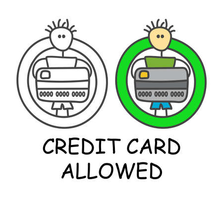 Funny vector stick man with a credit card in children's style. Allowed card payment sign green. Not forbidden symbol. Sticker or icon for area places. Isolated on white background. Illusztráció
