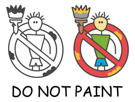 Funny vector stick man with a paintbrush in children's style. No paint sign red prohibition. Stop symbol. Prohibition icon sticker for area places. Isolated on white background. Illusztráció