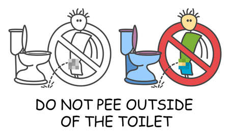 Do not pee outside of the toilet in children's style icon. No urinating no pee sign red prohibition. Stop symbol. Prohibition icon sticker for area places. Isolated on white background.