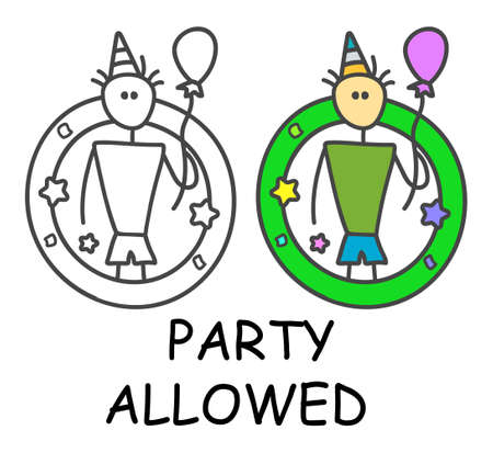 Funny vector stick man with a balloon and funny hat in children's style. Allowed celebration sign green. Not forbidden symbol. Sticker or icon for area places. Isolated on white background.