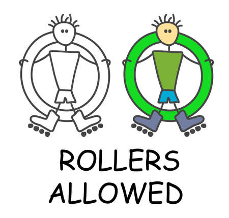 Funny vector stick man with a Rollers in children's style. Allowed riding sign green. Not forbidden symbol. Sticker or icon for area places. Isolated on white background.