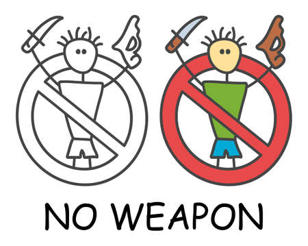 Funny vector stick man with a weapon in children's style. No gun no knife sign red prohibition. Stop symbol. Prohibition icon sticker for area places. Isolated on white background.