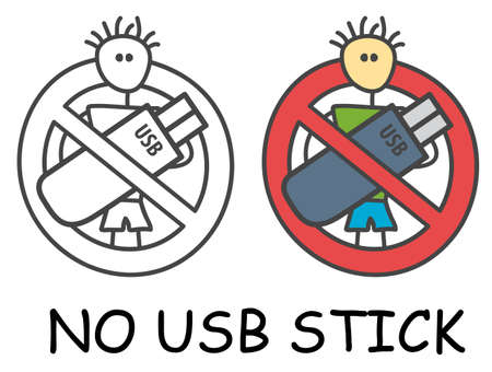 Funny vector stick man with USB flash drive in children's style. Ban sign red prohibition. Stop symbol. Prohibition icon sticker for area places. Isolated on white background.