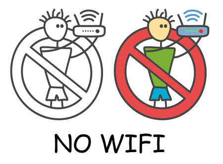 Funny vector stick man with a router in children's style. No wifi signal sign red prohibition. Stop symbol. Prohibition icon sticker for area places. Isolated on white background. Vettoriali