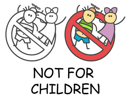 Funny vector stick boy and girl in children's style. Not for children sign red prohibition. Stop symbol. Prohibition icon sticker for area places. Isolated on white background.