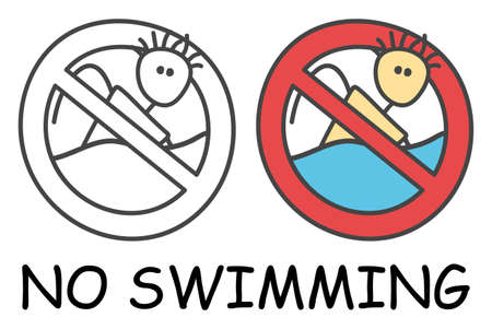 Funny vector stick swimmer in children's style. No swimming sign red prohibition. Stop symbol. Prohibition icon sticker for area places. Isolated on white background.