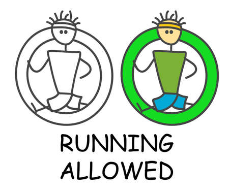 Funny vector runner stick man in children's style. Allowed run sign green. Not forbidden symbol. Sticker or icon for area places. Isolated on white background.