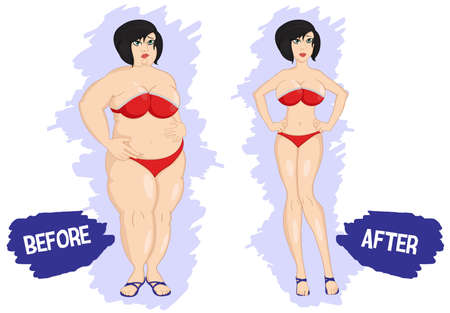 Before and after weight loss fat and slim woman. Losing weight. Dieting. Fat and thin woman before and after. Girl in swimsuit. Weight loss concept. Vector illustration. Fitness. Lifestyle. Isolated.