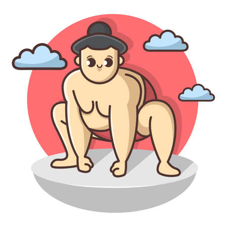 Funny Sumo funny wrestler character. Japan culture abstract design template. Hand drawn cartoon vector illustration.