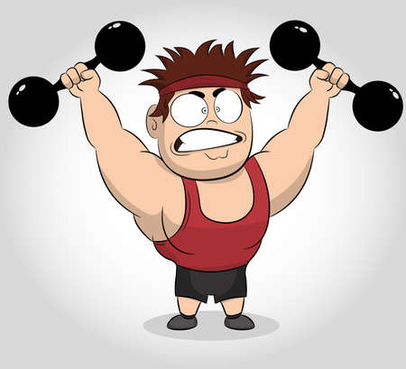 Funny Cartoon illustration of a muscular guy holding a dumbbells. Fit muscular man exercising with dumbbells. Caucasian strong sportsman. Athlete strong character. Vector cartoon illustration. Vecteurs