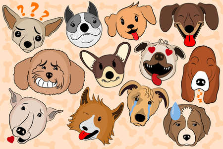 Cartoon Vector Illustration of Funny Dogs Expressing Emotions. Puppy emoji showing various emotions. A cartoon dogs with various facial expressions and moods. Set of heads of dogs emotions. Stock Illustratie
