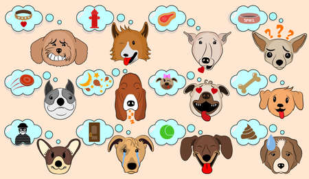 Cartoon Vector Illustration of Funny Dogs Expressing Emotions. Funny Mixed Breed dogs with Speech Bubble. Dog Brain Thinking. What the dogs think about. A Dog's Dream.