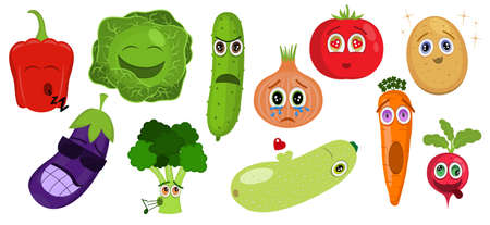 Funny cartoon vegetable characters. Vegetable emoticons. Pepper, cabbage, cucumber, onion, tomato, potato, eggplant, broccoli, zucchini, carrot, radish. Food icon with emotions face. Sticker.