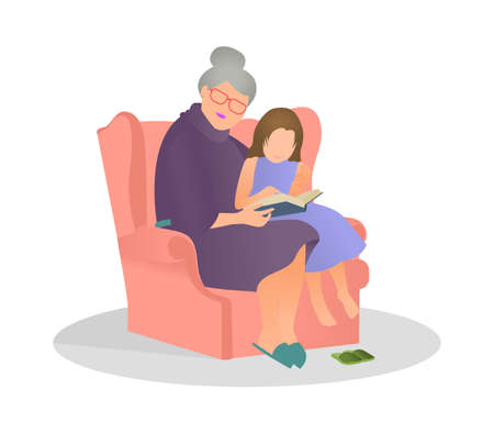 Vector illustration granddaughter listening her grandmother reading a story in flat style. Granny and granddaughter spend time together.