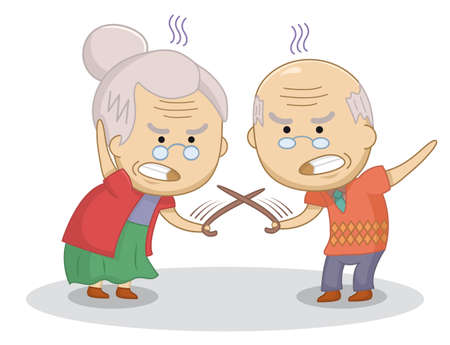 Funny cartoon elderly couple duel with canes. An elderly married couple quarrel. Bad relationship concept.