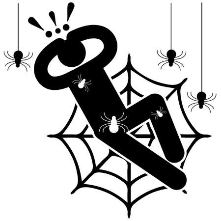 Arachnophobia. Fear of spiders. Phobia. Crawling spiders. Entangled in the web. Afraided man.