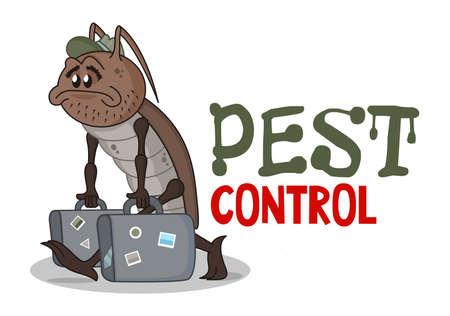Funny pest control concept with sad homeless cartoon cockroach. Design for print, emblem, t-shirt, sticker, corporate identity, icon. Vektorgrafik