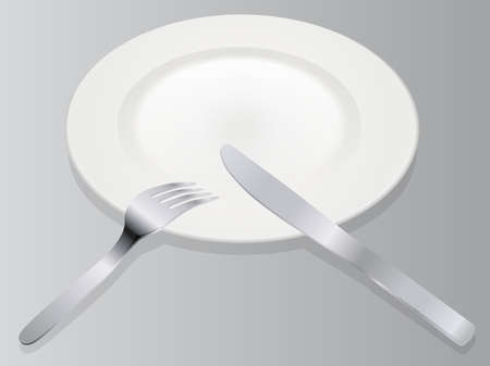 Place setting 3D vector illustration realistic empty plate with knife and fork isolated on gray background in isometric view on separate layers.