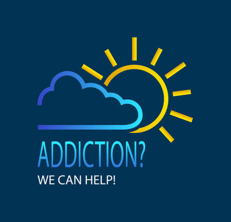 Creative vector element for addiction treatment services. Sun Emerging From Behind the Clouds. Concept Coding for Alcoholism. Hope icon logo.