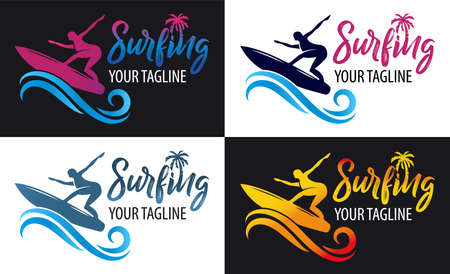 Surfing logo for Surf Club or shop. Lettering emblem of Surf club with surfing board and surfer silhouette background. 向量圖像