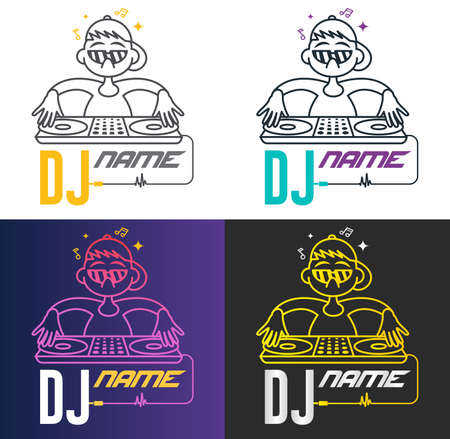 Funny cool vector dj logo. Charismatic disc jockey at the turntable. Music logotype template. For accessory, brand, identity, logotype, company, shop, dj party. Mp3 sign. Four mode. 矢量图像