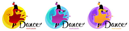 Silhouette of dancing woman. Dance designs template. Elements of dance multi colored icons. Tango, waltz, latino style.