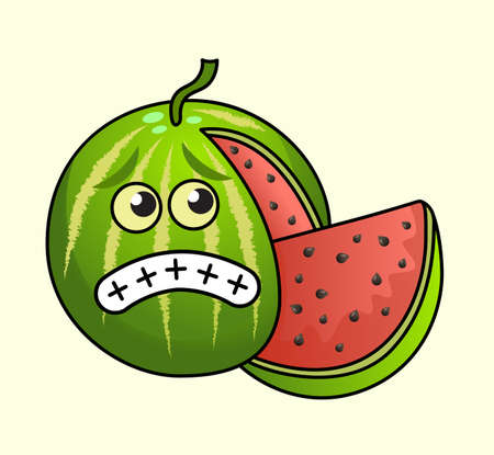 Funny scared vector watermelon character. Design for print, emblem, t-shirt, party decoration, sticker, logotype. Vettoriali