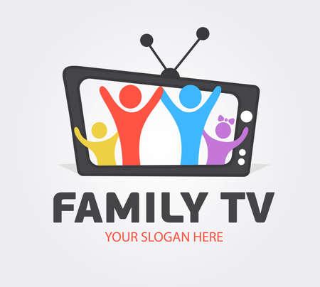 Cute Family Media Channel Template. Digital TV logotype Template. Media company logo or film production studio or audio-visual studio or on-line media. TV company. Creative media television.