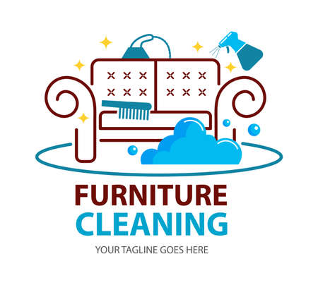 Furniture dry cleaning logo flat concept. Sofa professional washing, laundry service. Furnishing delicate cleaning, stain removing equipment. Logo