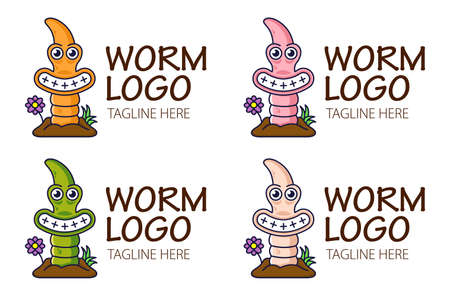 Funny cute earthworm climbs out of the ground and smiling. Logo for bait shop or fishing icon. Four color mode.