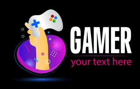 Gamepad logo. Electronic sports, e-sports, or eSports concept. Hand Holding game controller on creative colorful background.