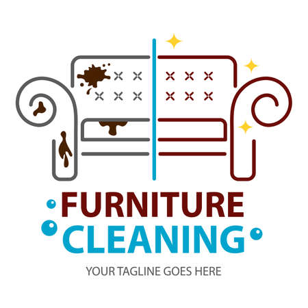 Furniture dry cleaning before and after logo flat concept. Sofa professional washing, laundry service. Furnishing delicate cleaning, stain removing equipment. Logo