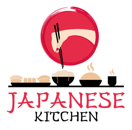 Japanese kitchen logotype. Hand with chopsticks. Asian style. Food service. Sushi bar logo. Typographic labels, symbol, stickers, logos and badges. Restaurant vector template. Creative flat vector. Çizim