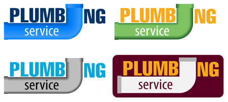 Vector logo water, gas engineering, plumbing service or company. Web graphics, banners, advertisements, brochures, business templates. Water pipe logotype design. Set of four color options. Logo