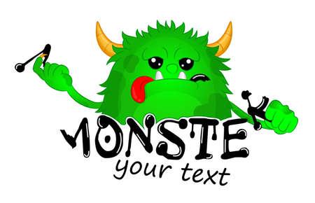 Beast took a bite of a Letter. Cute Kids Monster Vector Logo Template. Hungry cartoon hairy monster. Vector Halloween green furry monster gremlin or troll. Design for emblem, logo, print or sticker.