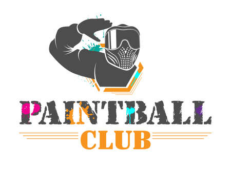 Ð¡olorful paintball sport club logotype. Man in full equipment with tinted mask salutes. Design for print, web, emblem, t-shirt, party decoration, sticker, logotype.