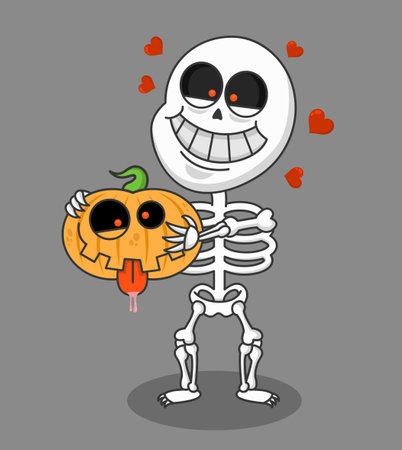 Happy halloween greeting card. Cute funny skeleton holds pumpkin. Holidays cartoon character vector.