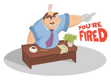 Manager screaming and pointing with finger in his office. Funny cartoon vector boss sitting at the table kicked out the door worker. Chief attacks an employee. Fail business concept.