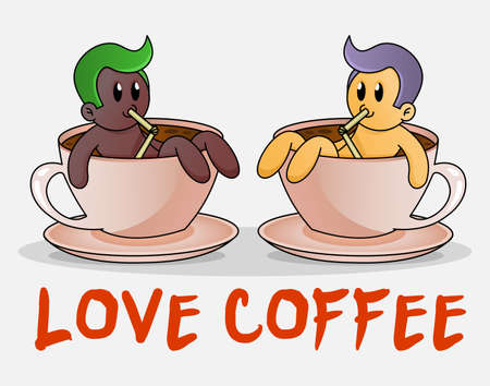 Cute man Take A Bath In Cup Of Hot Coffee. Funny cartoon concept of big cup of coffee. Design for print, emblem, t-shirt, party decoration, sticker, logotype, mascot. Ilustracja