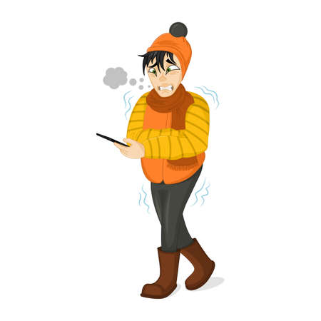 Vector Illustration of a Man in Winter Clothes Shivering Hard Because of the Cold. Freezing man tries to call a taxi.