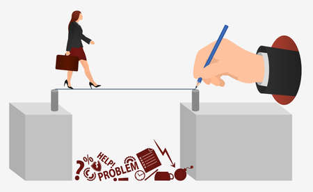 Businesswoman walker going on rope. Risk Concept Flat Vector Illustration. Banner Movement Success. Woman go to Goal on Thin Rope. Risks and difficulties in business.