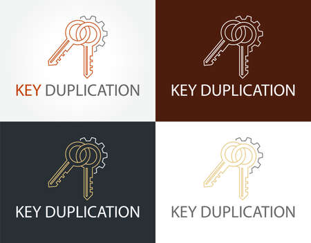 Abstract creative key duplication logo concept. Professional skilled key cutter sign.