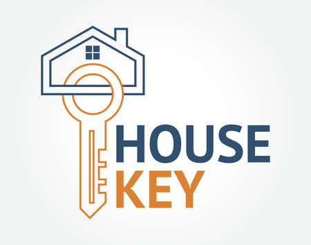 Abstract creative House key concept. Professional skilled key cutter sign.
