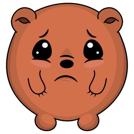 Sad taddy bear. Cartoon illustration of a bear looking sad. Cute Bear: sad, crying, weeping, sobbing, sorrow, unhappy, dismal, depressing emotion. As logo, mascot, sticker, emoji