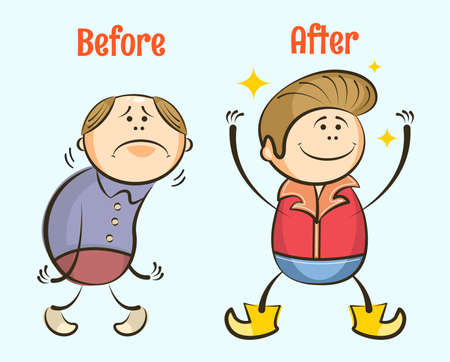 Funny cartoon balding insecure man gets hair and becomes happy. Before and after Hair loss concept. Fighting hair loss in men. Hair care concept. Vector characters.